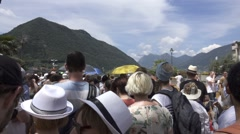 Crowd of People Near Lake of Iseo, Italy Stock Footage