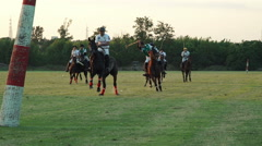 Polo challenge. Jockey makes a shot Slight slow motion. N Stock Footage