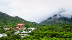 Timelapse-Po Lin Monastery, where Big Buddha is located, is a Buddhist monastery - stock footage