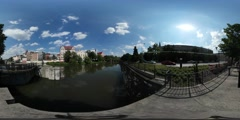 360Vr Video Dam Small Lake in City Park Embankment Old Buildings Along the - stock footage