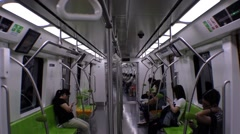 Beijing underground inside the train Stock Footage