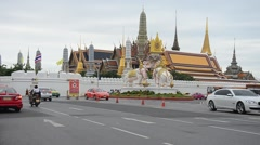 Traffic road at Wat Phra Kaew Temple of the Emerald Buddha Stock Footage