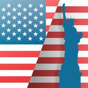 Focus on liberty statue  against independence day graphic - stock illustration