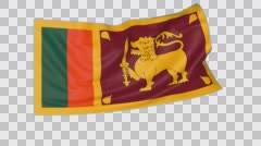 Waving flag of Sri Lanka, seamless loop. Exact size, blue background. Part of Stock Footage