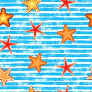 Seamless pattern. Blue lines, starfish - stock illustration