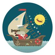 Cute captain wolf travelling by ship on sea - stock illustration
