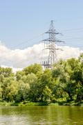 Electricity Pylon Close tot he Lake Stock Photos