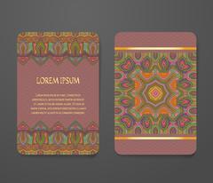 Colorful ornamental ethnic booklet set - stock illustration