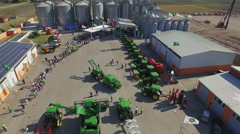 Tractors exhibition fro above Stock Footage