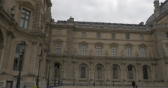 Grand exterior of Louvre Palace Stock Footage