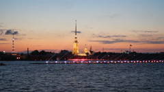 St. Petersburg, the backlight on the Neva during the White Nights. Stock Footage