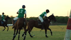 Jockey makes a shot, Polo challenge. Slight slow motion. N Stock Footage
