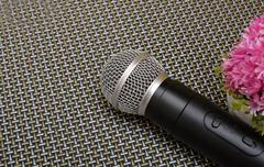 Microphone close up view - motivational speaker Stock Photos