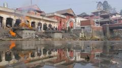 Pashupatinath temple burning ghat,Kathmandu,Nepal Stock Footage
