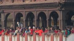People watching cremation ceremony Pashupatinath,Kathmandu,Nepal Stock Footage