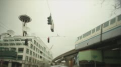 Seattle Subway Above Ground Stock Footage