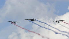 Group of aircraft were released colored smoke. Stock Footage