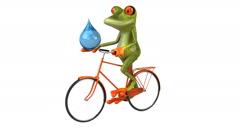 Fun frog on a bicycle - Digital animation - stock footage