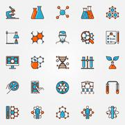 Chemistry and biotechnology icons - stock illustration