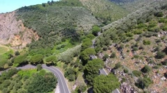 Aerial view of Foro road between Pisa and Lucca,Tuscany Stock Footage