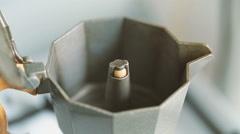 Moka pot brewing close-up Stock Footage