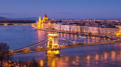 Aerial view of Budapest, Hungary at sunset Stock Footage
