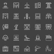 Museum linear icons set Stock Illustration