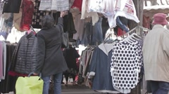 Popular Flea Market in Paris, France Stock Footage