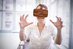 Sphere of skills against businesswoman holding virtual glasses Stock Photos