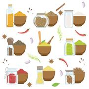 Spices In A Bowl And Glass Container Set - stock illustration