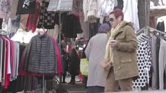 Muslim Women Shopping On An Flea Market In Paris, France Stock Footage
