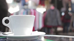 Coffee Outside Of Popular Flea Market In Paris, France Stock Footage