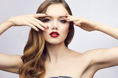 Classic red lips girl - stock photo