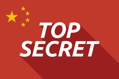 Long shadow China flag with    the text TOP SECRET - stock illustration