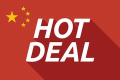 Long shadow China flag with    the text HOT DEAL - stock illustration