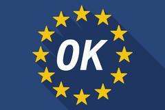 Long shadow European Union flag with    the text OK - stock illustration