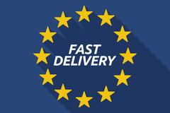 Long shadow European Union flag with    the text FAST DELIVERY Stock Illustration