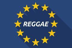 Long shadow European Union flag with    the text REGGAE - stock illustration