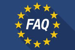 Long shadow European Union flag with    the text FAQ Stock Illustration