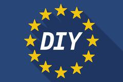Long shadow European Union flag with    the text DIY - stock illustration