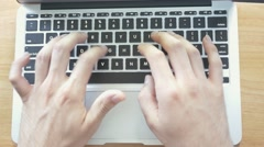 4K  Top Desk View Hands Typing Computer Keys Stock Footage