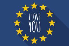 Long shadow European Union flag with    the text I LOVE YOU Stock Illustration