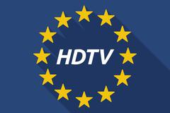 Long shadow European Union flag with    the text HDTV Stock Illustration