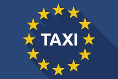 Long shadow European Union flag with    the text TAXI - stock illustration