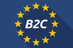 Long shadow European Union flag with    the text B2C - stock illustration