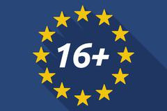 Long shadow European Union flag with    the text 16+ - stock illustration