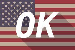 Long shadow USA flag with    the text OK - stock illustration