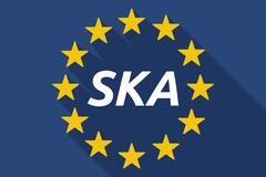 Long shadow European Union flag with    the text SKA Stock Illustration
