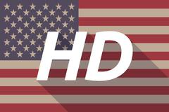 Long shadow USA flag with    the text HD - stock illustration