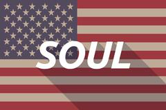 Long shadow USA flag with    the text SOUL Stock Illustration